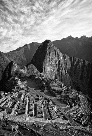 View of Machu Picchu in Peru in Black and White
