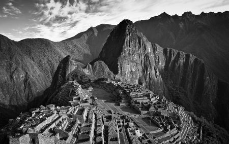 peru architecture: View of Machu Picchu in Peru in Black and White