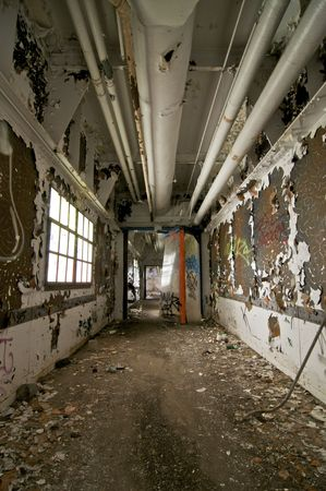 abandoned warehouse: Decayed Hallway in an Abandoned Building Stock Photo