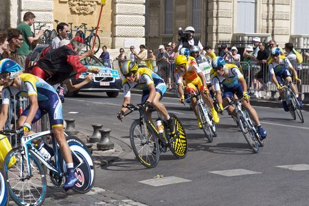 MONTPELLIER, FRANCE - JULY 7: Team Astana and Lance Armstrong take on a corner at Stage 4 of the 2009 Tour de France on July 7, 2009 in Montpellier, France