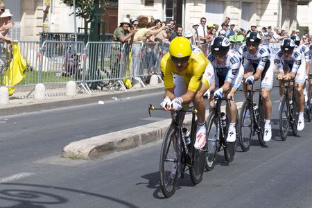 MONTPELLIER, FRANCE - JULY 7: Team Saxobank pushes forward in Stage 4 of the 2009 Tour de France on July 7, 2009 in Montpellier, France