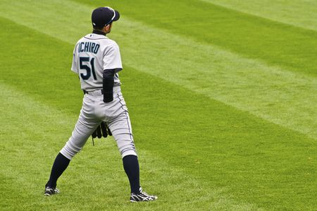 CHICAGO, IL - APRIL 29: Ichiro plays right field for Mariners vs. the Chicago White Sox at U.S. Cellular Field April 29, 2009 in Chicago, IL
