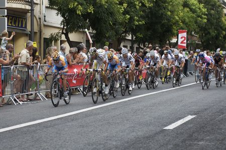 PERPIGNAN, FRANCE - JULY 8: The peloton chases the race leader towards the finish in Stage 5 of the 2009 Tour de France on July 8, 2009 in Perpignan, France.