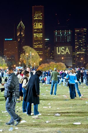 CHICAGO, IL - NOVEMBER 4: Crowd after the Obama Election Night Rally in Grant Park on November 4, 2008 in Chicago, IL  Editorial