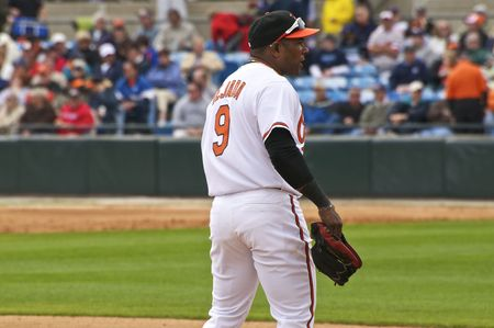 SARASOTA, FLORIDA - MARCH 3: Miguel Tejada of the Baltimore Orioles plays 3rd Base for the first time in his career against the Tampa Bay Rays on March 3, 2010 in Sarasota, Florida.