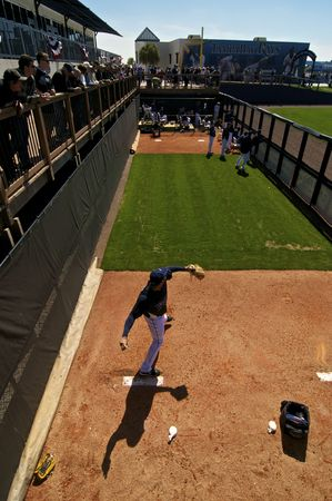 PORT CHARLOTTE, FLORIDA - MARCH 4: Joaquin Benoit of the Tampa Bay Rays warms up in the bullpen during a game against the Baltimore Orioles on March 4, 2010 in Port Charlotte, Florida