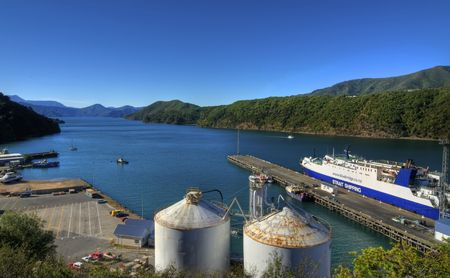 PICTON, NEW ZEALAND - APRIL 24: The passenger ferry to Wellington prepares to leave the harbor on its daily voyage to the North Island on April 24, 2010 in Picton, New Zealand