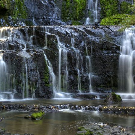 A Beautiful Cascading New Zealand Waterfall