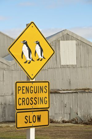 oamaru: A Penguins Crossing Sign in Oamaru, New Zealand Stock Photo
