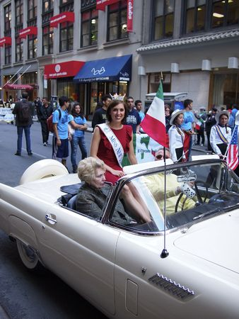 NEW YORK CITY, USA - October 11, 2010: Miss New York, Claire Buffie, at the Columbus Day Parade on Fifth Avenue