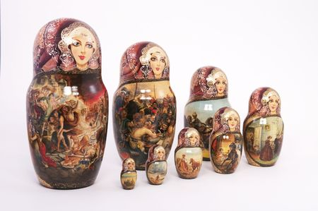 Eight Russian Dolls on a White Background