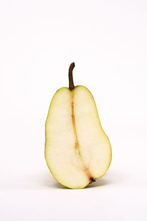 Half of a Sliced Pear Isolated on a White Background Stock Photo