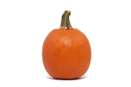 A Single Pumpkin Isolated against a White Background