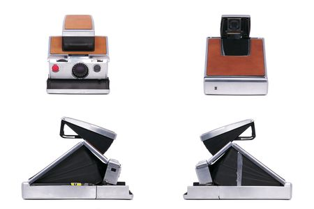 Four Sides of a Vintage Folding Instant Camera Isolated on a White Background Stock Photo