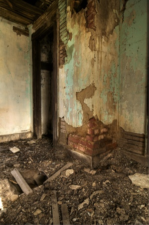 A collapsing chimney in an Abandoned House