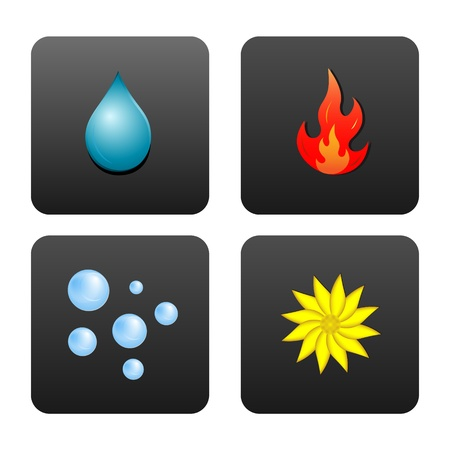 fire water: Drop of water, fire, air bubbles, and the flower, which symbolizes the earth. Icons in dark gray squares isolated on white background.