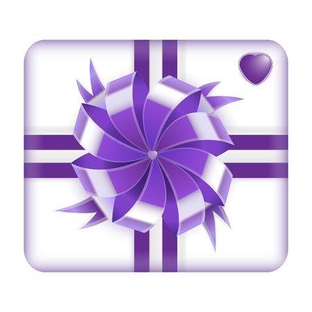 Purple Valentines Gift Box with heart on it isolated on white background