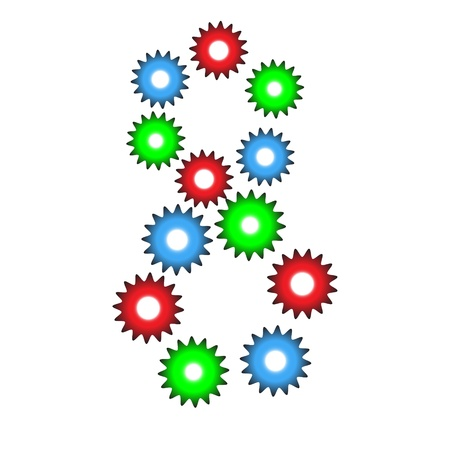 Number Eight from red, green and blue cogwheels isolated on white background