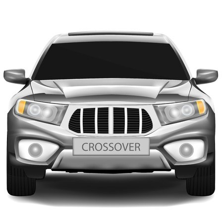 car front: Dark-silver crossover car isolated on white background Illustration