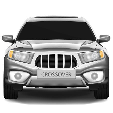 Donker-zilver crossover auto geïsoleerd op witte achtergrond Vector Illustratie