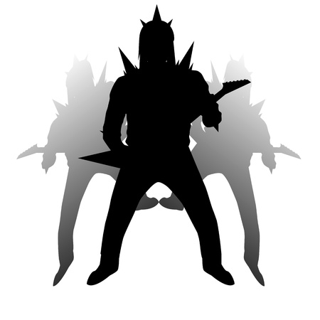 hard rock: Brutal Hard Rock Guitarist in viking helmet isolated on white background Illustration