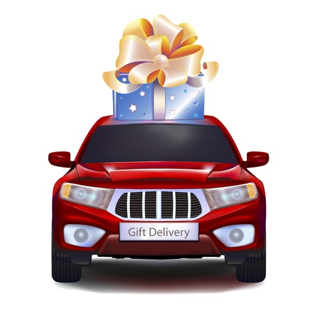 Blue gift with gold bow on red car isolated on white background. Front view. EPS10. Vector