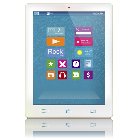 White tablet computer with color icons on display isolated on white background