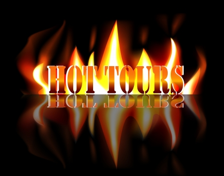 tourist bus: Hot Tours - Shiny orange text in flames of fire with reflection on black background