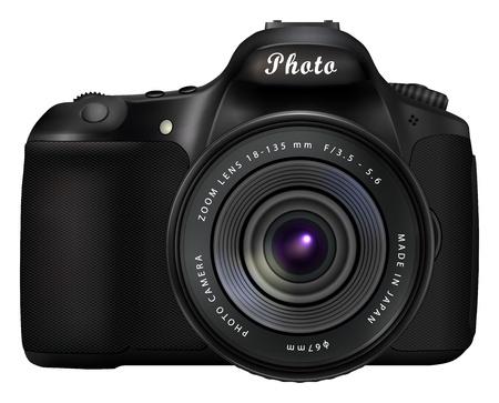 Moderna nero fotocamera digitale reflex a obiettivo singolo isolato su sfondo bianco