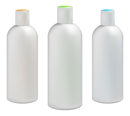 lotion: White plastic bottles for cosmetic creams, lotions, shampoo and gels with colored caps