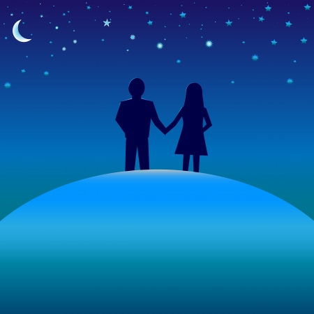 blissful: Happiness concept. Silhouettes of boy and girl on blue globe under starry night skies with moon. Illustration