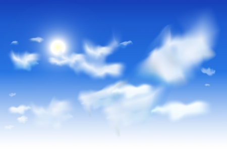 Vector sky background EPS10. White clouds and sun in a blue sky.