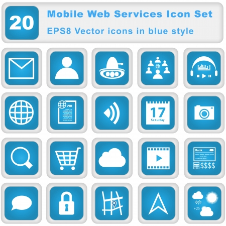 Mobile Web Services Icon set. 20 EPS8 Vector icons in blue style.