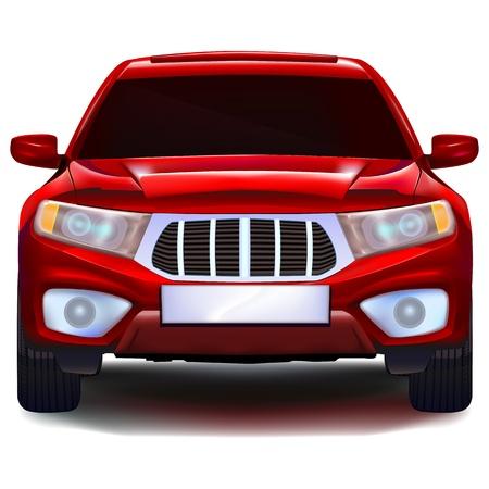 scheinwerfer: Red Crossover Auto mit leeren Nummernschild Illustration