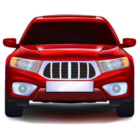 front bumper: Red crossover car with blank number plate