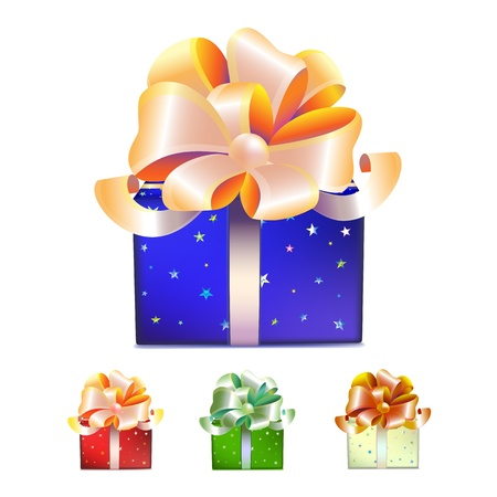 Set of blue, red, green and white gift boxes with bows, ribbons and stars isolated on white background Stock Vector - 19237890