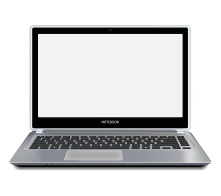 Modern metallic laptop computer with blank white screen. Vector illustration.