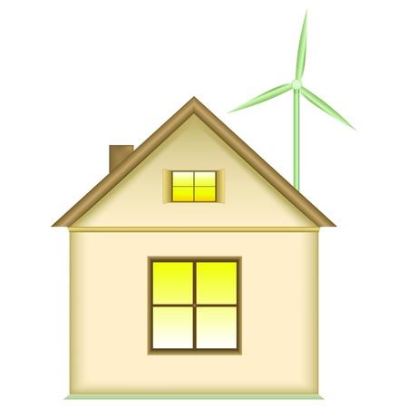 wind turbine: Concept d'�nergie renouvelable. Accueil �olienne. Ic�ne, isol� sur fond blanc. Illustration