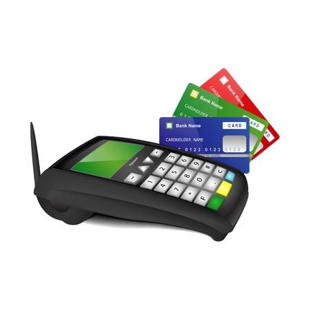 tarjeta visa: Terminal de pago sin hilos con el azul, verde y rojo tarjetas bancarias aisladas sobre fondo blanco