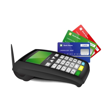 Wireless payment terminal with blue, green and red bank cards isolated on white background Illustration