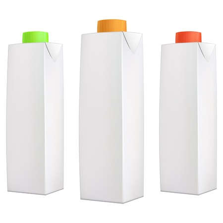 Juice packs with green, orange and red lids isolated on white background