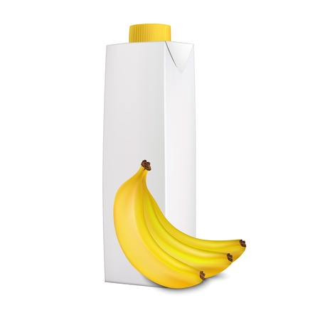 Banana juice in carton packaging and bananas near it isolated on white background