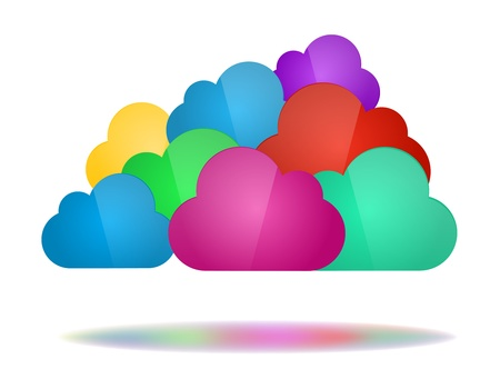 Cloud computing concept. Set of color clouds with shadow in bottom isolated on white background. Illustration