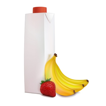 Banana, strawberry, juice in carton packaging