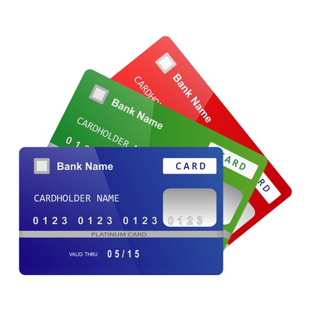 Set of color bank credit cards folded like a fan isolated on white background