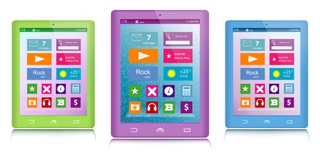 Set of green, purple and blue tablet computers with color icons on touch screen isolated on white background Illustration
