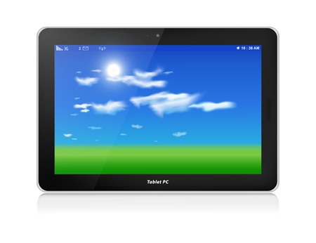 horizontal orientation: Black glossy tablet computer in horizontal orientation of display, isolated on white  Green grass and blue sky with clouds as screen background