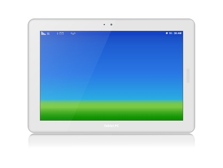 White glossy tablet personal computer in horizontal orientation of display  Green grass and blue sky as screen background  Copy space