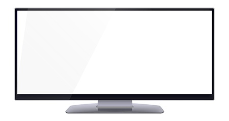 Ultra wide blank computer monitor screen with copy space for content, isolated on white background