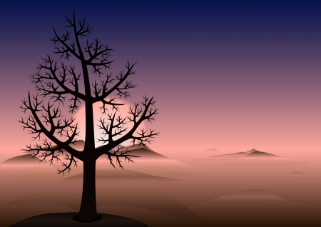Lonely tree without leaves on the hill  Sunset time  Heads of a mountains looks through the fog  Vector Background with copy space